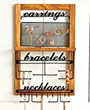 The Lakeside Collection Deluxe Hanging Wood Jewelry Organizer