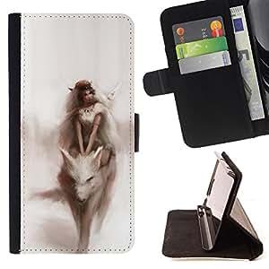 """For Motorola Moto E ( 2nd Generation ),S-type Acuarela Fairytale Sueño Mujer"""" - Dibujo PU billetera de cuero Funda Case Caso de la piel de la bolsa protectora"""