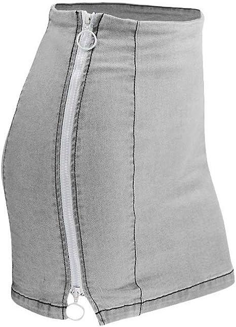 HEHEAB Falda,Gris Verano Faldas Plus Size Denim Mujer Falda Mini ...