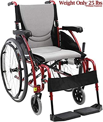 "Karman Healthcare S-Ergo 115 20"" Seat Width, Ultra Lightweight Ergonomic Wheelchair, Fixed Wheels - 25 lbs in Rose Red"