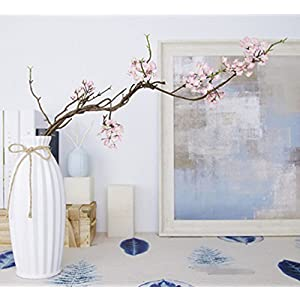 Skyseen 3PCS Artificial Cherry Blossom Branches Sakura Flowers Arrangements for Home Wedding Decoration,Pink 14