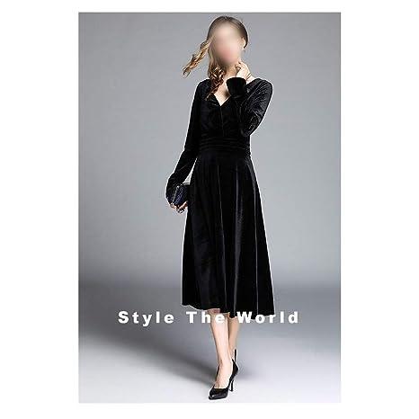 Vestido de Mujer Temperamento Cintura y Falda Swing Grande Vestido ...