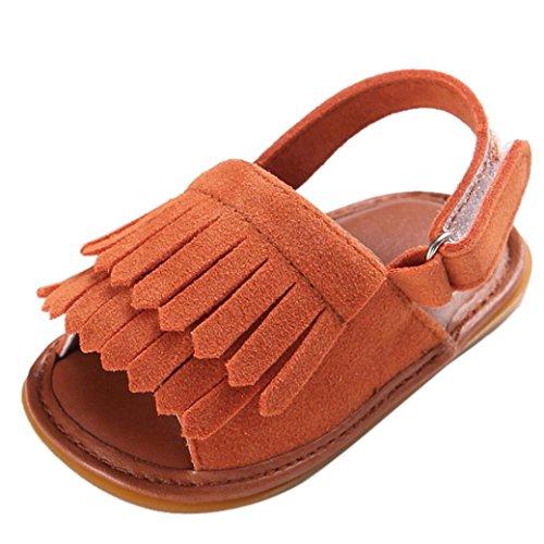 Tefamore Sandalias Zapatos Bebé Niño Cuna de Recién Nacido Flor Suave Suela Antideslizante Zapatillas Primavera y Verano Marrón