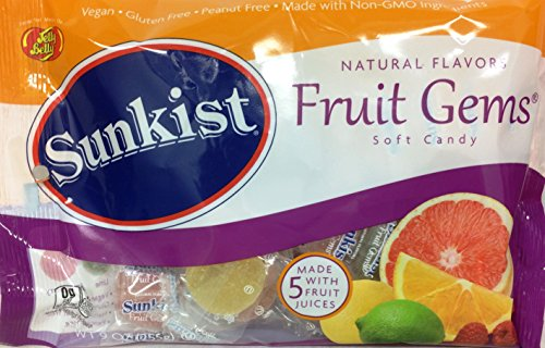 Sunkist Natural Flavors Fruit Gems, Soft Candy, Vegan, Gluten-free, Non-GMO, 9 oz. (3 pack)