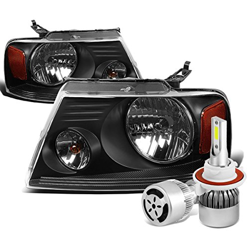 For Ford F-150 11th Gen Pair of Black Housing Amber Corner Headlight + H13 LED Conversion Kit W/Fan