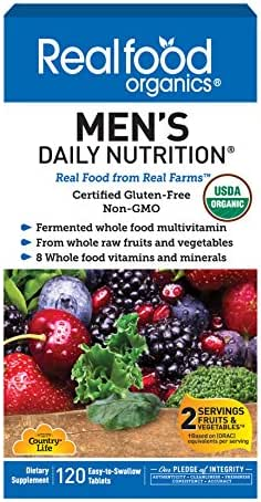 Country Life Realfood Organics - Men's Daily Nutrition Multivitamin - 120 Easy-to-Swallow Tablets