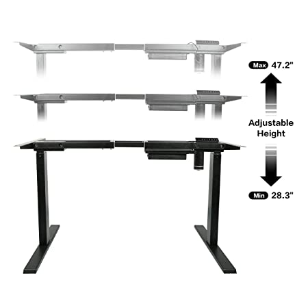 AECOJOY Electric Stand Up Desk Frame, Height Adjustable Standing Base Single Motor DIY Workstation with Memory Controller