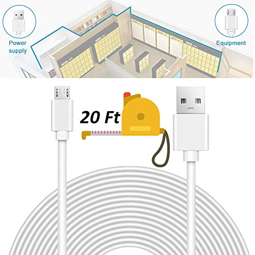 Security Camera Power Extension Cable - 20 Ft Charging Cable for Wyze Cam,  Yi Camera, Oculus Go, Echo Dot Kid Edition, Nest Cam, Netvue, Arlo Pro Q,