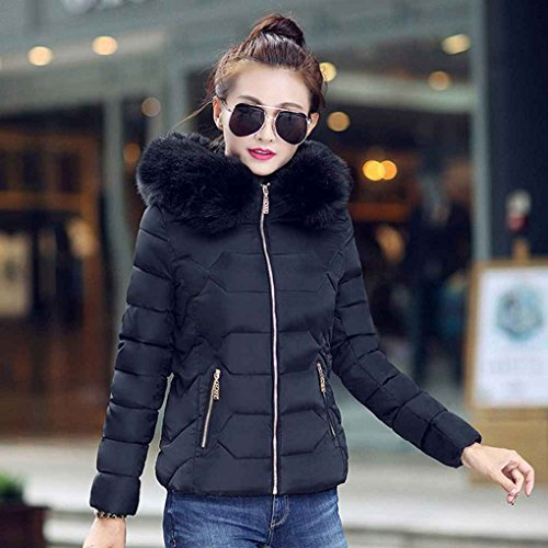 Masterein Warm Overcoat Fur Jackets Short Solid Women Black Coats Slim Winter Large Collar Hooded Thick Parkas rWrTqnU6H