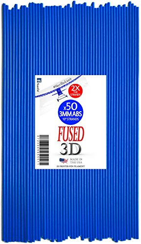 Premium 3D Printer Pen Filament: 50 Strands of 10inch 3MM ABS Plastic Refills for the 3Doodler Pen (x50 Strands, Blue)