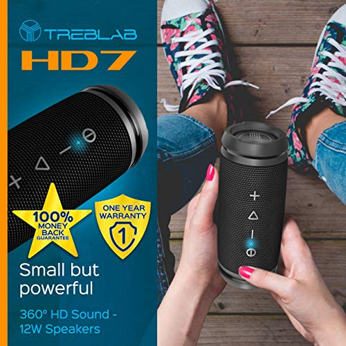 TREBLAB HD7 - Mini Portable Bluetooth Speaker Wireless - 12W Stereo, 360°HD Sound w/Bass, TWS Dual Pairing, w/Mic… 5