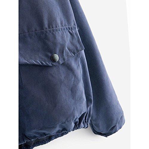 para Liquidación Bolsillo Cárdigan de Sudadera SHOBDW Larga Otoño Corto Tops con Manga Capucha Oferta Invierno Azul Chaqueta con Mujer Moda Rosa de botón ZXnSqg4Sx