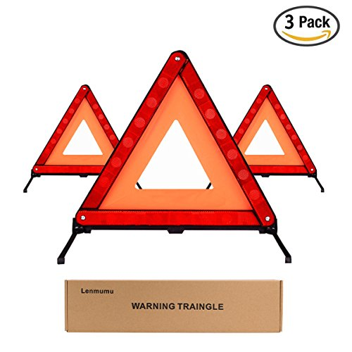 Lenmumu Safety Triangle Kit Road Emergency Warning Reflector Roadside Reflective Early Warning Sign, Foldable 3 Pack of Emergency Car Kit with Storage Box