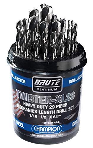 Champion Cutting Tool Brute Platinum 29 Piece 1/16-1/2″ x 64ths HSS Mechanics Length Twister-XL28 Drill Bit Set-135 Degree Split Point, Water Resistant Index-MADE IN USA