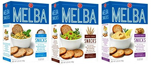 Old London Melba Snack Crackers 3 Flavor Variety Bundle: (1) Sea Salt Melba Rounds, (1) Whole Grain Melba Rounds, and (1) Roasted Garlic Melba Rounds, 5.25 Oz. Ea - Melba Toast