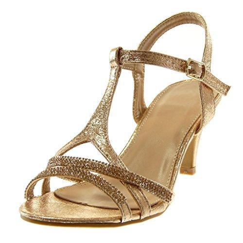 Angkorly Damen Schuhe Sandalen Pumpe - Knöchelriemen - Metallischen - Schick - Strass - Glänzende - String Tanga Trichterabsatz High Heel 8 cm Champagner