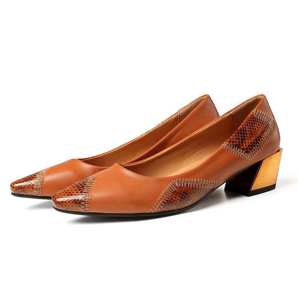 Mocasines De TacóN Alto Ocasionales Costura De La Parte Inferior Plana con Zapatos De Mujer Boca Baja Y Puntiaguda MarróN Zapatos Individuales De Gran ...