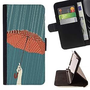 Momo Phone Case / Flip Funda de Cuero Case Cover - Paraguas del lunar Red Rain Pintura - Sony Xperia Z5 Compact Z5 Mini (Not for Normal Z5)