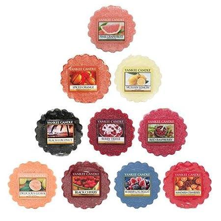 Yankee Candles® - Pack de 10 Bougies Parfumées sans Mèche - Assortiment de Senteurs Fruitées - Design Tartelettes