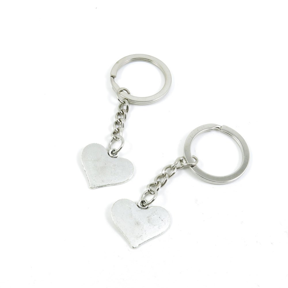 100 Pieces Keychain Door Car Key Chain Tags Keyring Ring Chain Keychain Supplies Antique Silver Tone Wholesale Bulk Lots P2JD3 Love Heart
