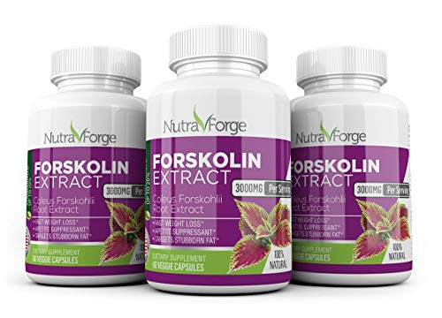 Pure Forskolin 3000mg Max Strength - Forskolin Extract for Weight Loss - Premium Appetite Suppressant, Metabolism Booster, Carb Blocker & Fat Burner for Men and Women - 3 Pack by Nutra Forge (Image #6)