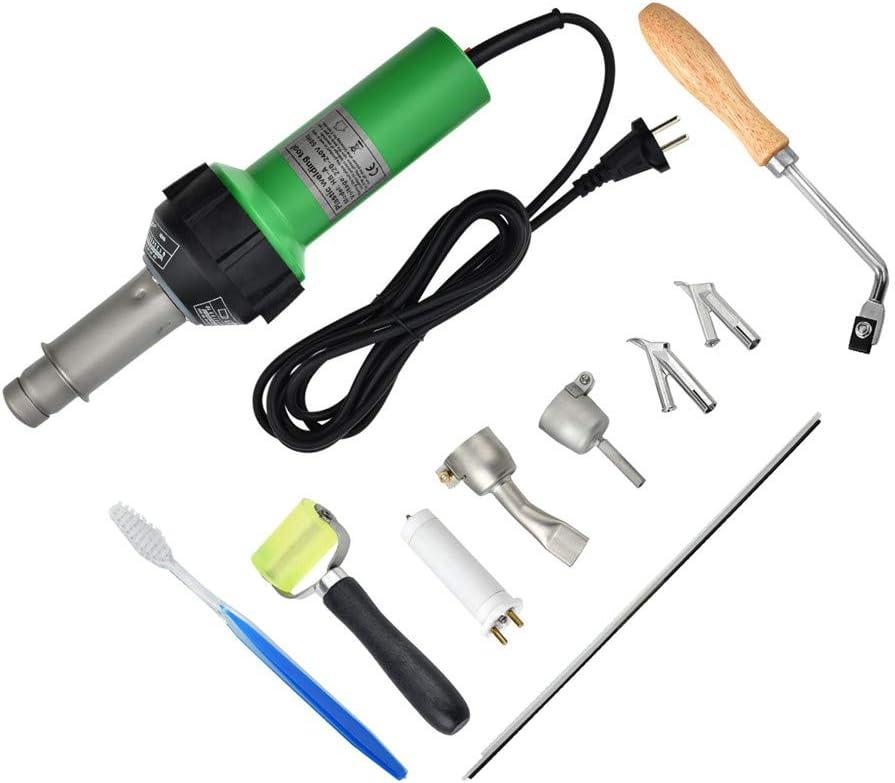 SEAAN Pistola de aire caliente de soldadura de plástico 1600W Máquina de soldadura profesional con boquillas de velocidad Rodillo Pe PVC Varilla de plástico