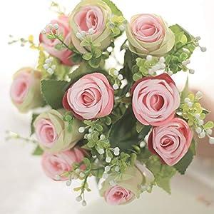 10 Head Rose Flower Artificial Silk Pearl Flower Wedding Bridal Bouquet Diamond Rose Garland Party Home Decor 5