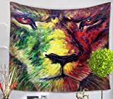 QCWN Wild Animal Tapestry African Lion Wall Hanging Africa Forest Animals Theme 3D Print Nature Home Decorations for Living Room Bedroom Dorm Decor Art (2, 78Wx59L)