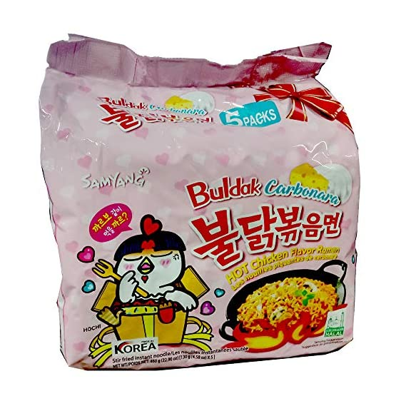 Samyang Hot Chicken Flavor Ramen Buldak Carbonara Noodles, Pack of 5