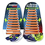 DIAGONAL ONE No Tie Shoelaces for Kids and Adults - Elastic Silicone Shoe Laces to Replace Your Shoe Strings. 20 Slip On Tieless Flat Silicon Sneakers Laces
