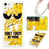 Case for ipod Touch 6,Colored Drawing Dynamic Floating Quicksand Liquid Glitter Sparkle Paillette Hearts Soft TPU Case for Apple iPod Touch 5/ipod Touch 6(Yellow Touch)