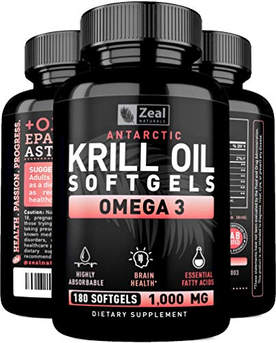 Pure Antarctic Krill Oil + Omega 3 (1000mg | 180 Softgels) Maximum Strength Omega 3 Krill Oil Supplement with EPA, DHA & Astaxanthin – Omega 3 Fish Oil for Joint Support, Brain Health, Heart Health