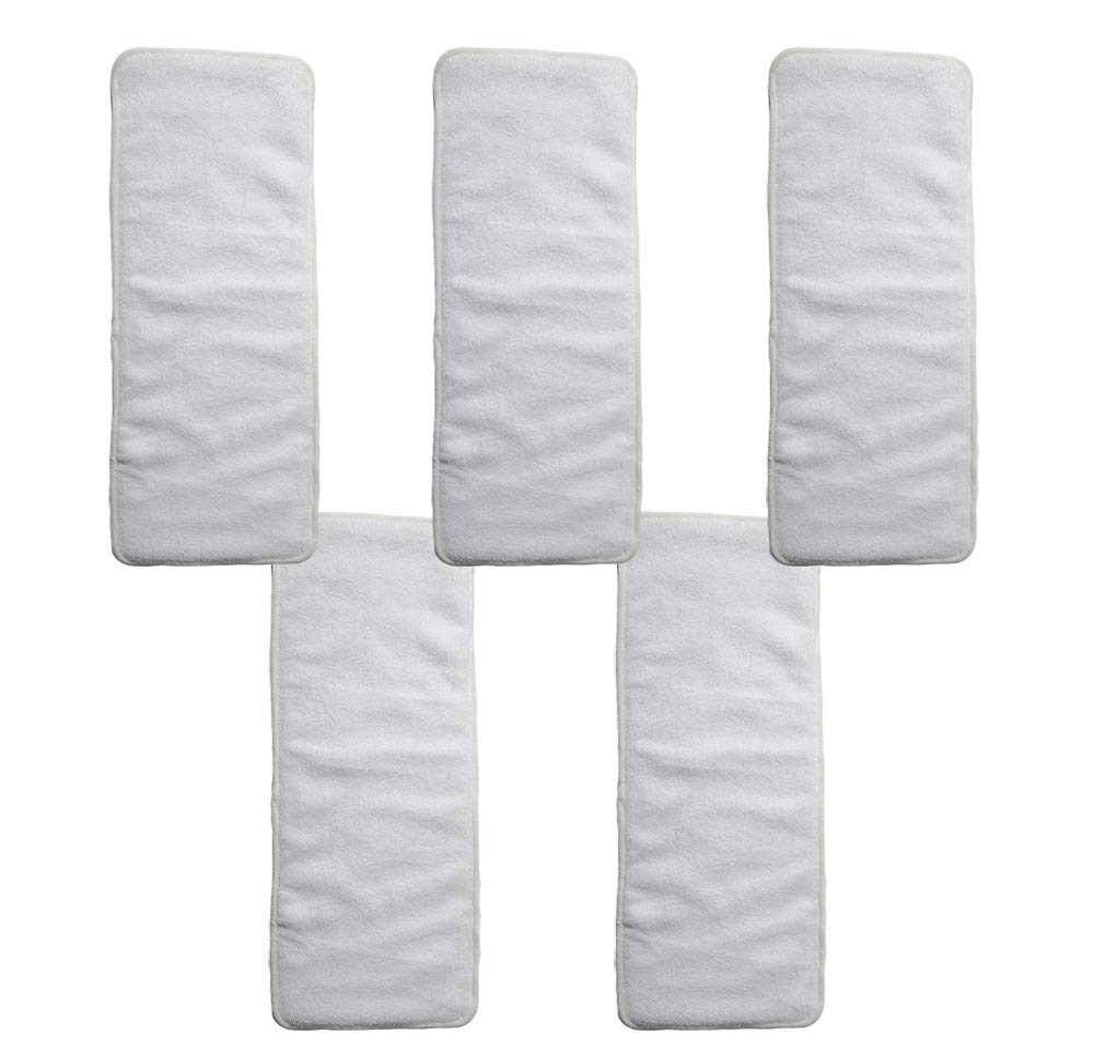 Reusable Adult Incontinence Nappy Insert Liners Washable Thickening Elder Cloth Diaper Inserts Excellent Water Absorbency 5 Packs,White