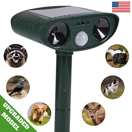 - Ultrasonic Repellent Device for Animal - Solar Charging Motion Activated Animal Repeller - Extra Durable Weatherproof Design - Ultrasonic Frequency Repels All Animals - Cruelty-Free - 30Ft Coverage