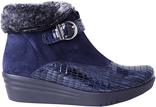 Helle Mode Komfort Kvinna Laia Pälskrage Komfort Boot Navy