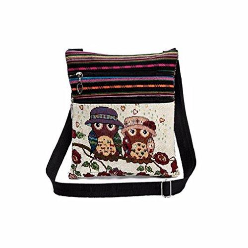 Multicolor Bag Postman Body Women Soft Package Handbags Cross EUzeo Double Bags Tote Embroidered Bag Linen C Owl Printed Zipper Shoulder cFnWWqa6Ux