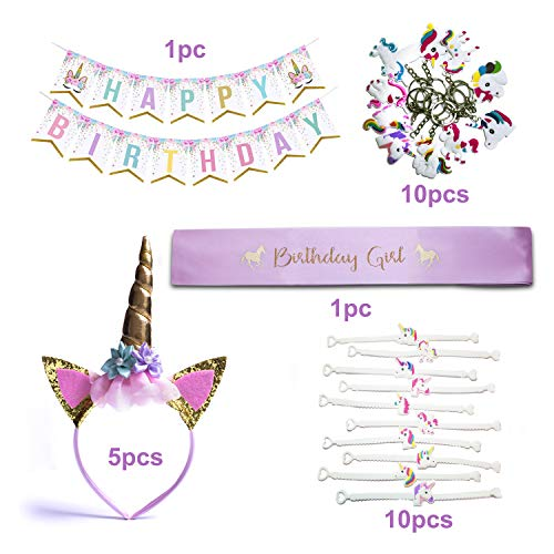 Unicorn Birthday Party Supplies And Decorations Kit – Magical Party Favors For Girls Birthdays with Gold Unicorn Themed Headband, Birthday Banner, Birthday Girl Sash, Bracelet Kit, ()