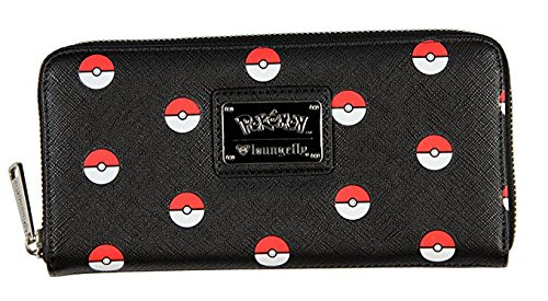 e18af8474ad Image Unavailable. Image not available for. Color: Loungefly Pokemon  Pokeball Print Faux Leather Zip Around Wallet