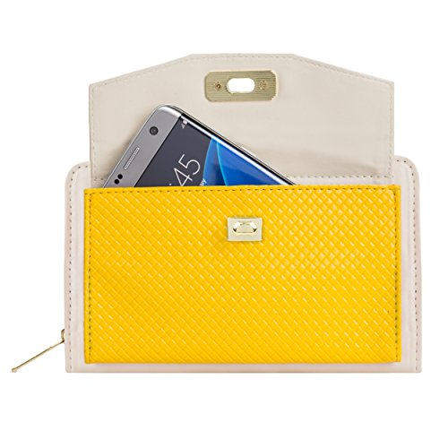 Envelope Clutch Cream/Yellow for HTC Phones by Vangoddy (Image #6)