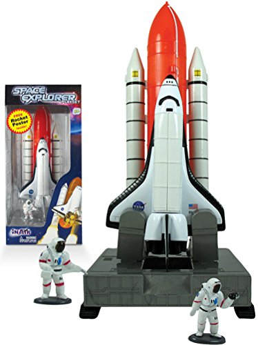 Space Explorer Space Shuttle Launch Center Playset with Educational Rocket Poster - Big Model Rocket