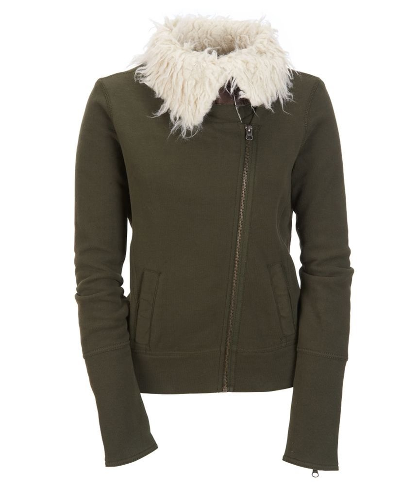 Aeropostale Womens Knit Sherpa Aviator Bomber Jacket Green S - Juniors