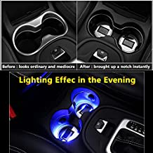 2pcs Solar Energy Car Logo LED accessory Cup Holder Pad Mat lamp Trim light Interior Decoration lamps part for kia sportage forte soul cerato rio k3 k5 carnival lights (Circle Diameter: 2.80 Inch)