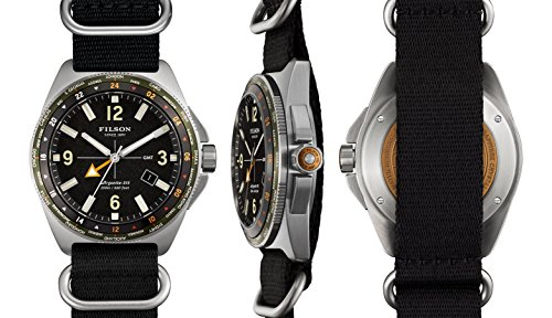Filson Journeyman GMT Stainless Steel Black Nylon Strap Watch 11000315 - Gmt Watch Stainless Steel Strap