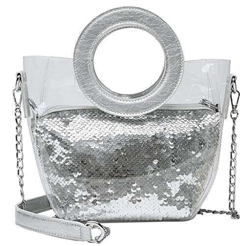 INS Bags Hot Sale,TOTOD Sequins Colorful Waterproof Transparent Messenger Chain Handbag - Best Gifts for Girl Friend