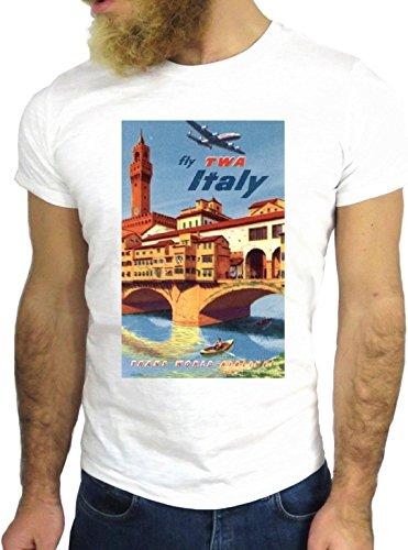 T SHIRT JODE Z3467 TWA ITALY ROME MILAN NEW YORK USA COOL NEW YORK FLY PLANE GGG24 BIANCA - WHITE XL
