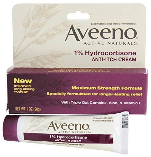 AVEENO Active Naturals 1% Hydrocortisone Anti-Itch Cream 1 oz ( Pack of 6)