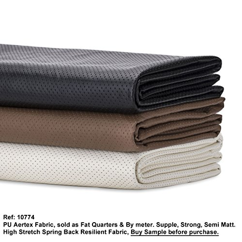 Neotrims FAUX LEATHER PU PVC Airtex Style Eyelet Fabric,Water Resistant, Stretch and ResilientSoft Material. Fat Quarters or by Meter. Brown, Black or Cream. Luxurious Soft Handle; Vegan Alternative to Animal Skin. Great Price.