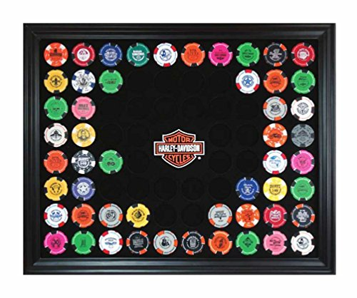 (Harley-Davidson Bar & Shield Chip Collector's Frame, Holds 76 Poker Chips 6976)