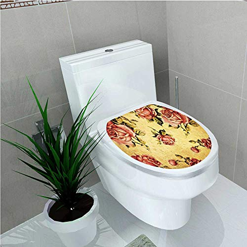 Gibson Rose Victorian Designs - PRUNUS Decoration Bathroom Toilet Cover Sticker Old Fashioned Victorian Style Rose Pattern Dramatic Color Boho Art Design Mustard W15 x L17