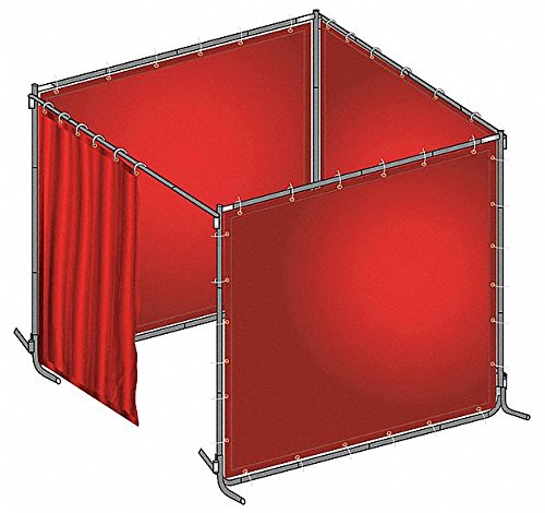 Transparent PVC Welding Booth Kit, 6 ft. H x 8 ft.W x 0.014'' Thick, Red